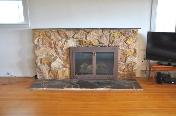 1950s ugly stone fireplace