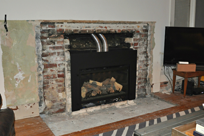Fireplace demo and new gas insert happening house updated black gas fireplace insert solutioingenieria Gallery