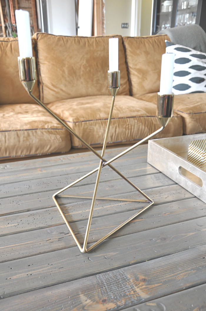 crate and barrel gold candle holder