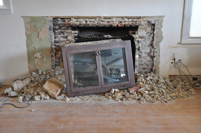 demo old fireplace