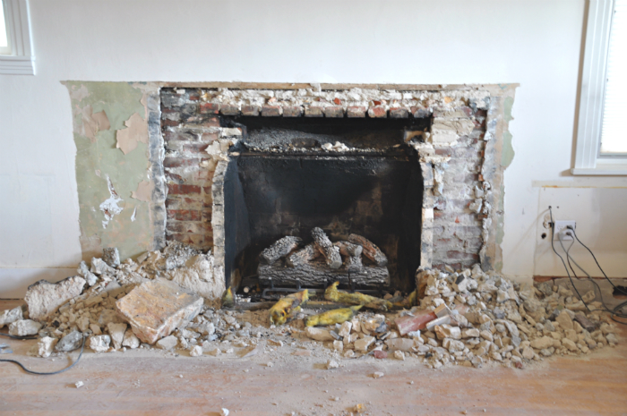 remove stone fireplace