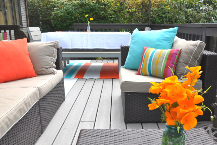 turquoise and orange deck
