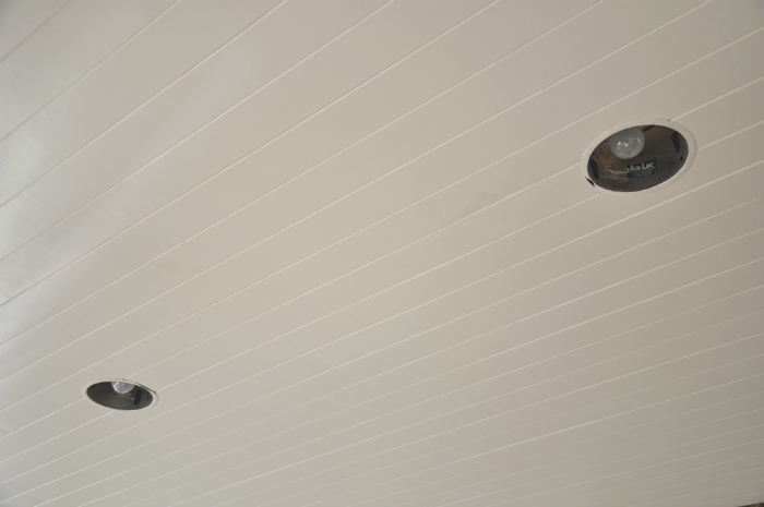 Close Up White Painted Planked Ceiling