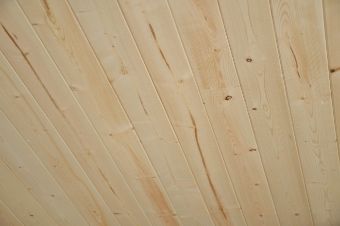 diy install planked ceiling close-up