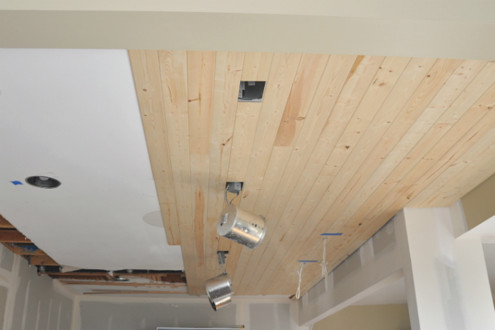 Diy how to install a wood planked ceiling house updated for Adding wood beams to ceiling