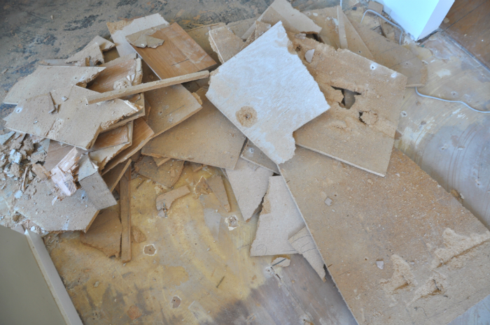 particle board torn up