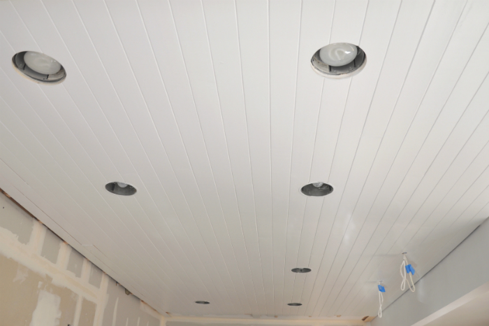 perfectly painted planked ceiling