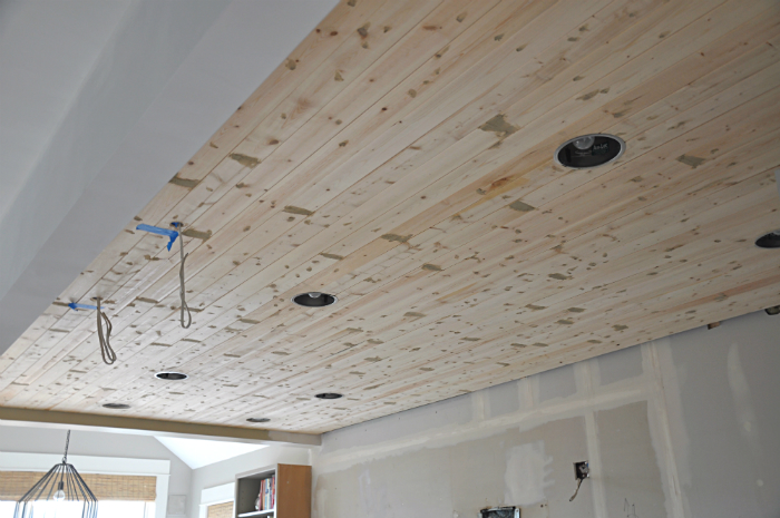 wood fill planked ceiling