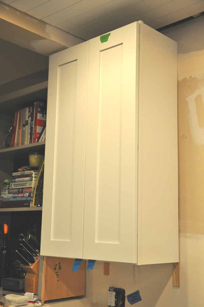 close up white shaker cabinet