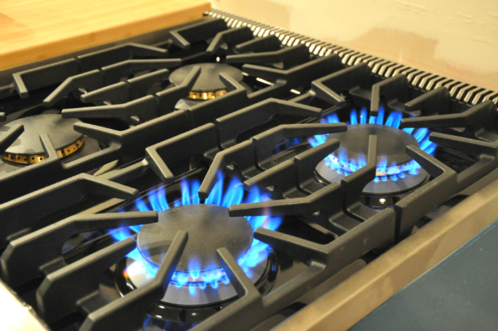 hooked up gas stove