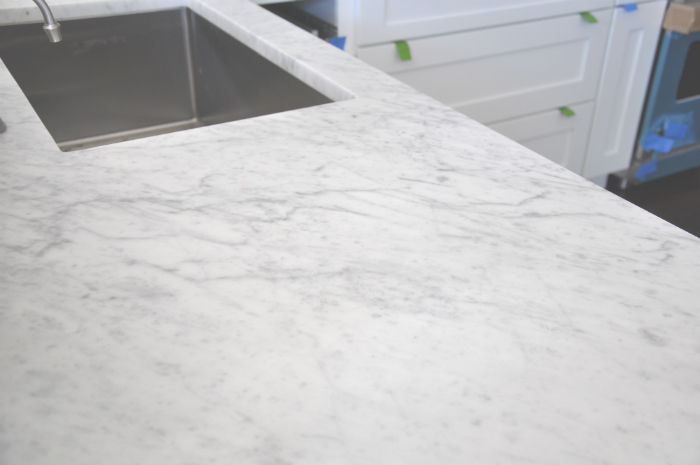 honed carrara marble close up. Kitchen Progress Report   House Updated