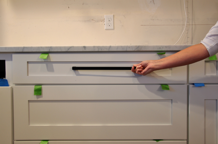 long matte black appliance pull