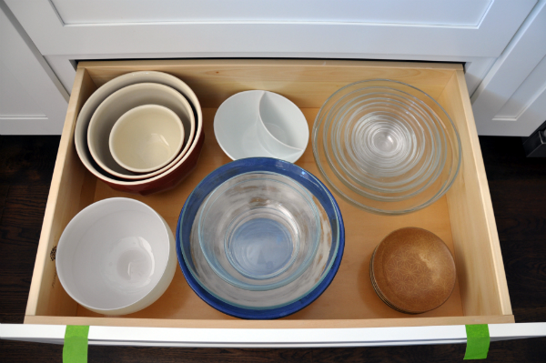 organized bowl drawer