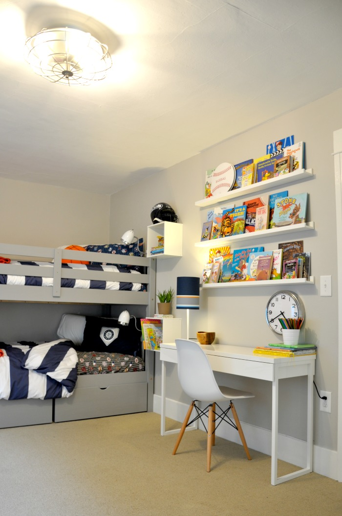 One room challenge book ledges wall mounted nightstands for Wall mounted desks ikea
