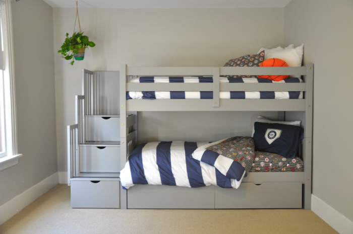 Gray Bunk Beds With Drawers And Stairs Bunk Bed King