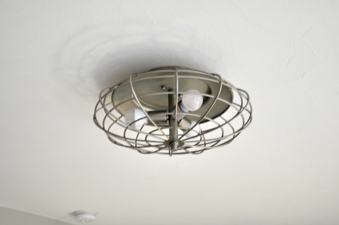 industrial three light cage ceiling mount fixture