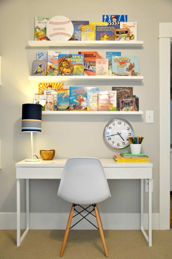 kid study desk with book ledges