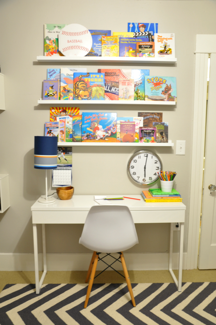 boys room floating book ledges