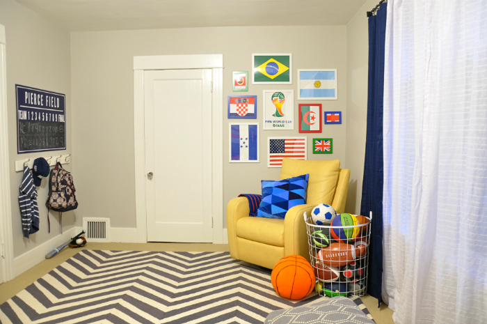 bright and cheerful yellow gray boys room