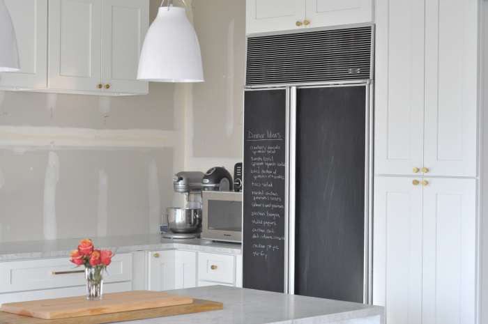 chalkboard fridge and caravaggio pendant