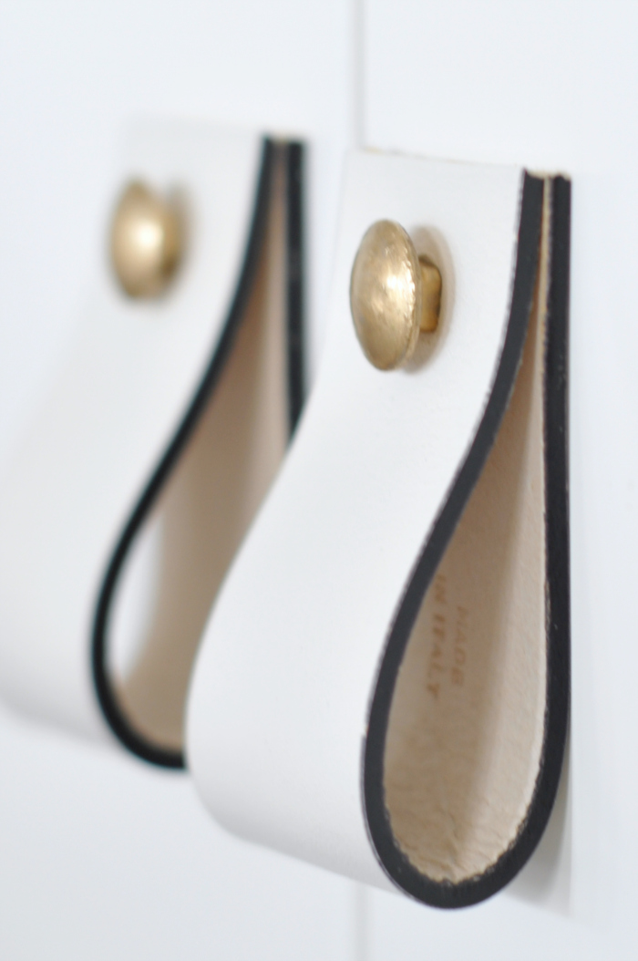 Delightful DIY Brass And Leather Cabinet Handles