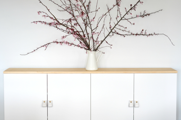 cherry blossoms on a modern buffet