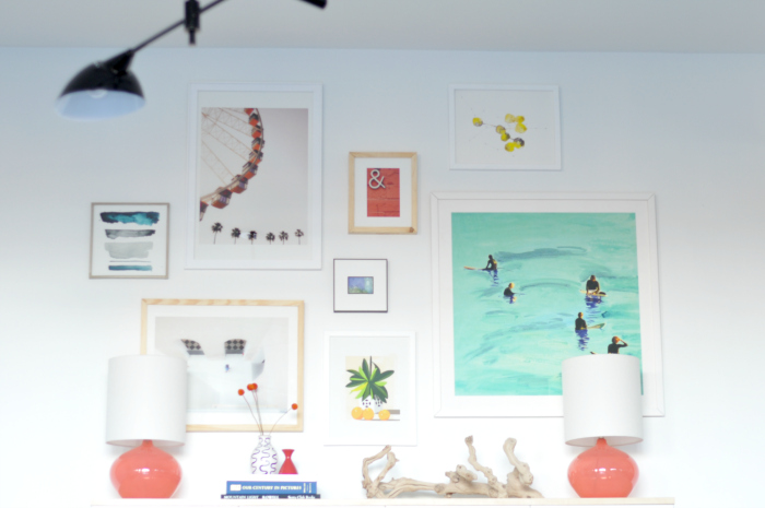 gallery wall turquoise coral yellow