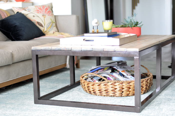 coffee table side view faux metal
