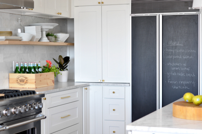 white kitchen chalkboard fridge