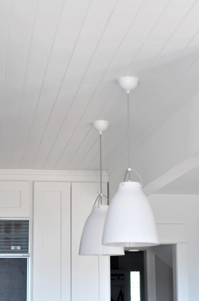 white planked ceiling