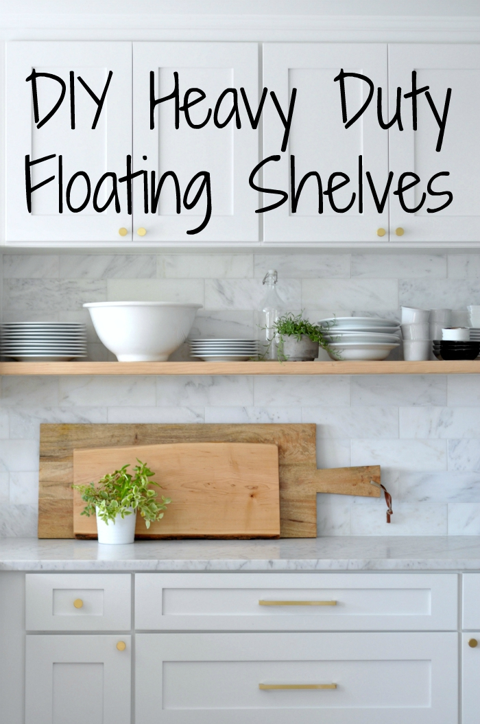 diy heavy duty bracket free floating kitchen shelves house updated rh houseupdated com