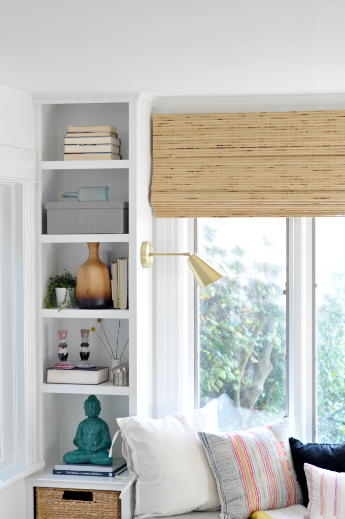 built-in shelves sconces