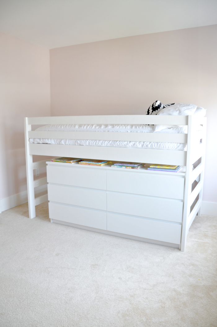 modern twin bed over dresser