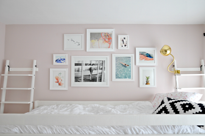 pink turquoise black white gallery wall pulled back
