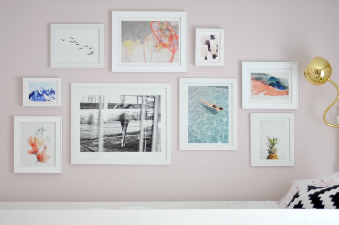 pink wall gallery wall girl room