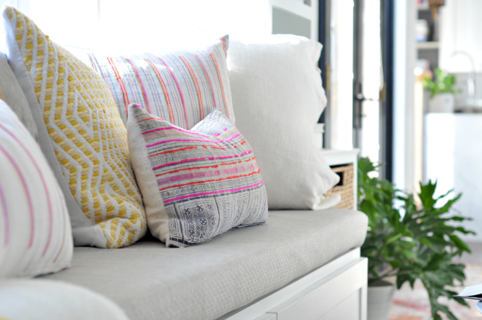 window seat boho eclectic pillows