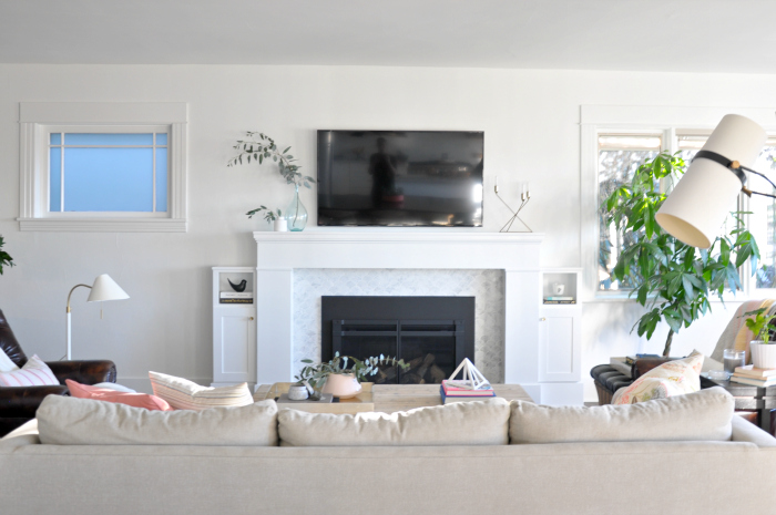 Living Room White Marble Fireplace