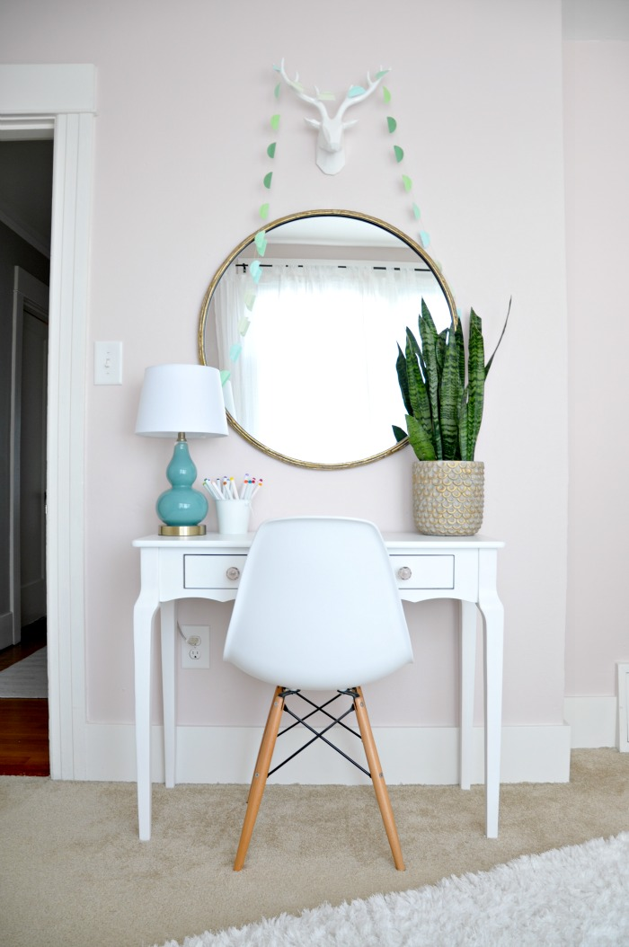 mini desk with modern chair gold mirror
