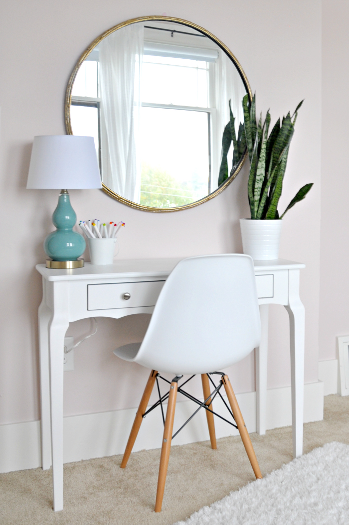 mini white desk round mirror