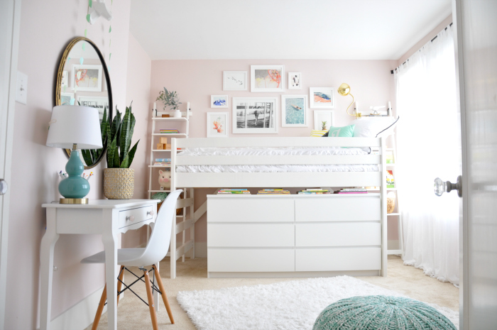 modern junior loft bed pink walls