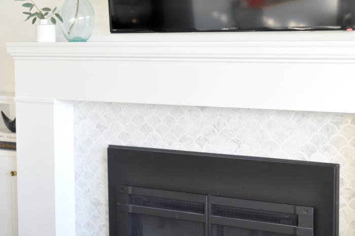 scallop white marble fireplace