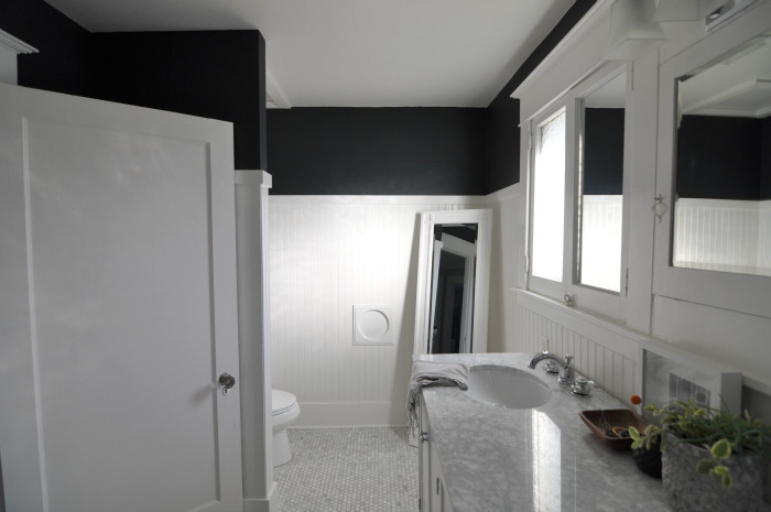 black walls white trim beadboard