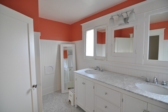 coral white marble bathroom