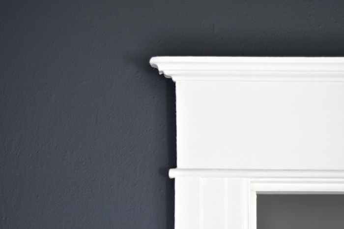 flat black walls white trim