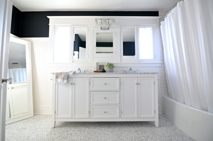 White Marble Bathroom Flat Black Walls Trim