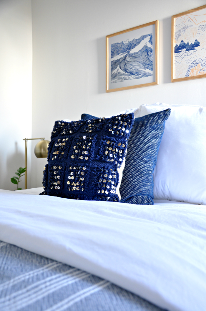 blue sequin pillow