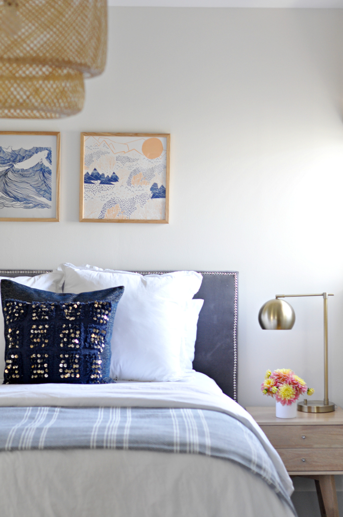 Casual Peachy, Blue, and White Guest Bedroom