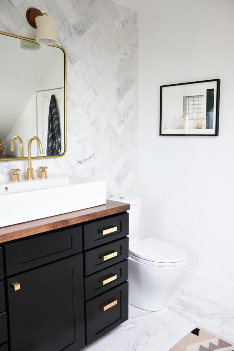 Throughout The Bathroom We Stuck To A Black/white/wood Combo While Layering  In Some Color On Top. I Especially Love The Mix Of Woods Between The Walnut  ...