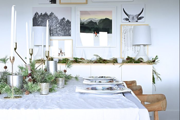 And The Dining Room Is In Center So I Kept It Neutral With Whites Metallics Some Greenery