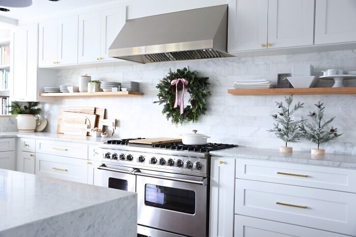 For Our Kitchen I Kept The Wreath The Same As Last Year But Added A Red And  White Ribbon Just For Some Holiday Cheer. And The Matching Bowls Of Mini ...